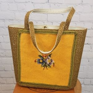 Handbags - Vintage 60s Needlepoint Kit Kisslock Tote Purse